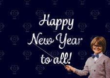 Uśmiechnięta chłopiec wskazuje z kijem przy nowego roku powitania wycena Obrazy Royalty Free