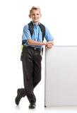 Uśmiechnięta chłopiec z whiteboard Obraz Royalty Free