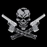 Uśmiechnięta czaszka z pistoletami Fotografia Royalty Free