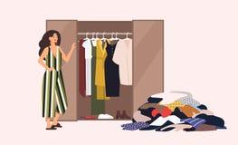 Uśmiechnięta długowłosa dziewczyny pozycja przed rozpieczętowaną szafą z odzieży obwieszeniem inside i stosem odziewa na podłoga ilustracja wektor