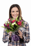 Uśmiechnięta dziewczyna z bukietem Obraz Stock