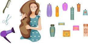 Uśmiechnięta dziewczyna z długie włosy i włosianymi produktami: włosiana suszarka, grępla, nożyce, szampon, włosiany balsam, kiść ilustracji