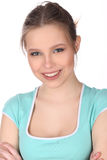 Uśmiechnięta dziewczyna z makeup i krzyżować rękami z bliska Biały tło Fotografia Royalty Free