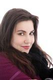 Uśmiechnięta kobieta w ciepłej zimy odzieży Fotografia Royalty Free