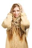 Uśmiechnięta kobieta w ciepłym comforter obraz royalty free