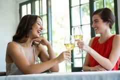 Uśmiechnięta kobieta wznosi toast win szkła w restauraci Fotografia Royalty Free