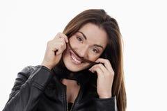 Uśmiechnięta kobieta z długie włosy obrazy royalty free