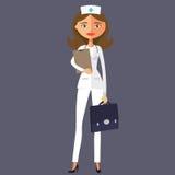 Uśmiechnięta kobiety lekarka z papier kreskówki wektoru płaskim illustrati Zdjęcia Stock