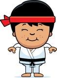 Uśmiechnięta kreskówka Karate Kid royalty ilustracja