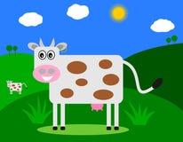 Uśmiechnięta krowa w śródpolnym profilu Obraz Stock