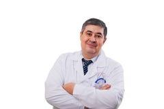 Uśmiechnięta lekarka krzyżował jego ręki nad jego ches obrazy royalty free