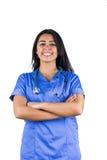 Uśmiechnięta lekarka z ona ręki składać Fotografia Royalty Free