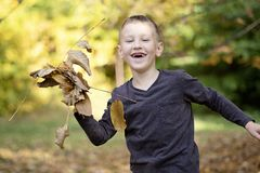 Uśmiechnięta młoda chłopiec bez frontowych zębów bawić się z liśćmi zdjęcia stock