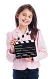 Uśmiechnięta młoda dziewczyna z Clapperboard. Obrazy Stock