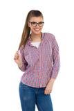 Uśmiechnięta młoda kobieta W Lumberjack koszula Obrazy Royalty Free