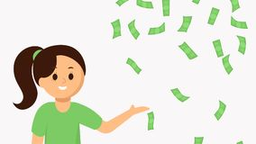 Uśmiechnięta młoda kobieta wskazuje spada pieniądze Obraz Royalty Free