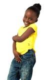 Uśmiechnięta mała amerykanin afrykańskiego pochodzenia dziewczyna Fotografia Royalty Free