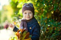 Uśmiechnięta mała chłopiec bawić się z kolorem żółtym opuszcza w parku Jesień Śmieszny śliczny dziecko robi wakacjom i cieszyć si Fotografia Royalty Free
