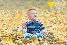 Uśmiechnięta mała chłopiec bawić się z kolorem żółtym opuszcza w parku Jesień Śmieszny śliczny dziecko robi wakacjom i cieszy się Obrazy Royalty Free