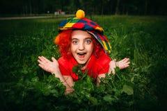 Uśmiechnięta mała dziewczynka w błazen peruce Zdjęcie Stock