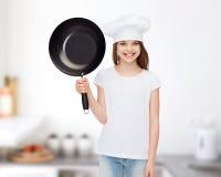 Uśmiechnięta mała dziewczynka w białej pustej koszulce Zdjęcia Royalty Free