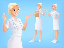 Uśmiechnięta medyczna pielęgniarka w mundurze w różnorodnych pozach kreskówki serc biegunowy setu wektor Fotografia Stock