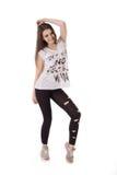 Uśmiechnięta nastoletnia stylu wolnego tancerza dziewczyna zdjęcia stock