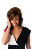 Uśmiechnięta nieśmiała Afrykańska kobieta Obrazy Stock