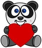 Uśmiechnięta panda szczęśliwa otrzymywać serce jako prezent ilustracji