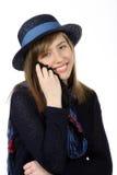 Uśmiechnięta piękna nastoletnia dziewczyna z marynarka wojenna kapeluszem Obraz Royalty Free