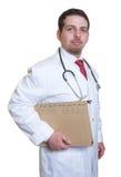 Uśmiechnięta potomstwo lekarka z kartoteką pacjent obraz stock