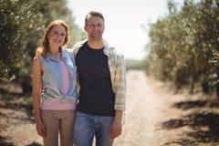 Uśmiechnięta potomstwo pary pozycja przy oliwki gospodarstwem rolnym na słonecznym dniu Zdjęcie Stock