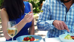 Uśmiechnięta romantyczna para cieszy się lunch zdjęcie wideo
