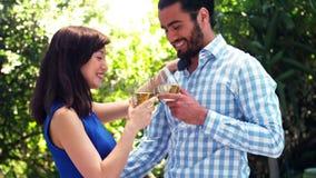 Uśmiechnięta romantyczna para wznosi toast win szkła zbiory wideo