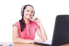 uśmiechnięta słuchawki kobieta Obrazy Stock