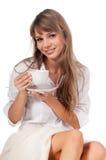 Uśmiechnięta szczęśliwa śliczna młoda kobieta Obrazy Royalty Free