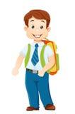 Uśmiechnięta szkolna chłopiec z plecakiem royalty ilustracja