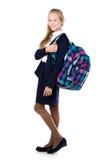 Uśmiechnięta szkolna dziewczyna z szkocka krata plecakiem Obrazy Stock