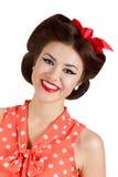 Uśmiechnięta szpilka w górę brunetki kobiety Zdjęcie Stock
