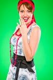 Uśmiechnięta zmysłowa kobieta. Styl i retro szpilka styl. Fotografia Stock