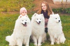 Uśmiechnięte dziewczyny siedzą z białymi Samoyed psami obrazy stock