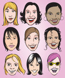Uśmiechnięte kobiet twarze inkasowe royalty ilustracja