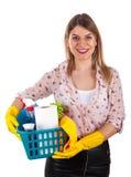 Uśmiechnięte kobiety mienia cleaning dostawy Zdjęcie Royalty Free