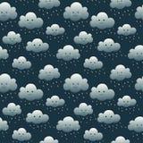 Uśmiechnięte noc cugla chmury ilustracji