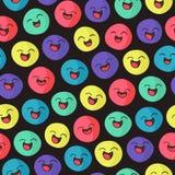 Uśmiechnięte twarze - bezszwowy wzór Fotografia Royalty Free