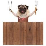 Uśmiechniętego mopsa grilla psi jest ubranym rzemienny fartuch, trzymający mięsnego tong i szpachelkę, za drewnianym ogrodzeniem fotografia stock