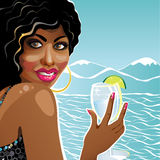 Uśmiechniętej dziewczyny oliwkowy trzyma szkło czysta woda. Ilustracji