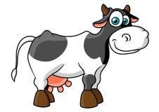 Uśmiechniętej kreskówki krowy łaciasty charakter Obrazy Stock