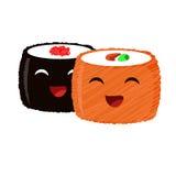 Uśmiechnięty śmieszny suszi dla dobrego nastroju Obrazy Royalty Free