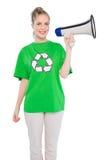 Uśmiechnięty środowiskowy aktywisty mienia megafon obrazy royalty free
